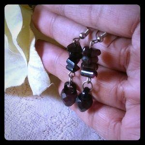 Vintage Black Lucite Bead Earrings
